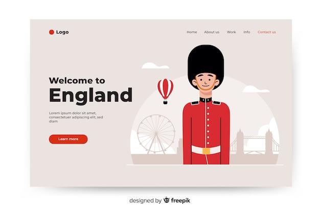 Добро пожаловать на целевую страницу англии с иллюстрациями Бесплатные векторы