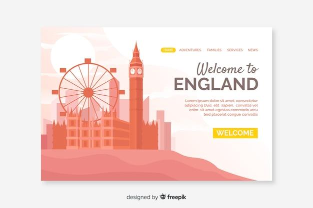 Добро пожаловать на целевую страницу англии Бесплатные векторы