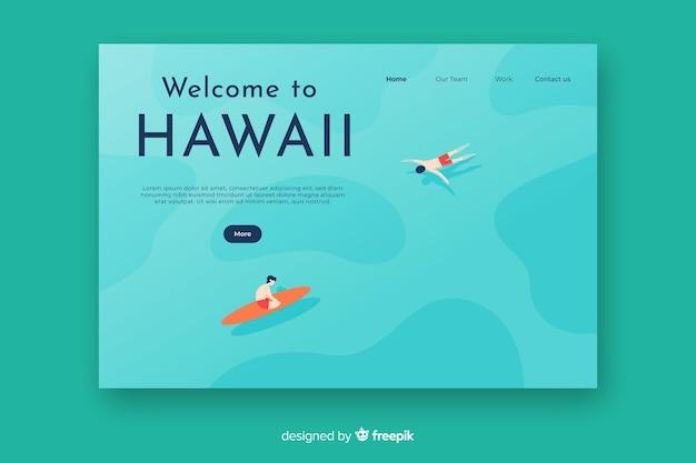 하와이 방문 페이지에 오신 것을 환영합니다 무료 벡터