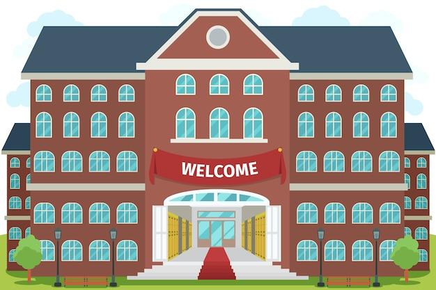 高校へようこそ。大学の研究、建築建設の建物、外観と正面、 無料ベクター