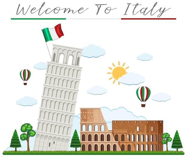 Добро пожаловать в италию и ориентир Premium векторы