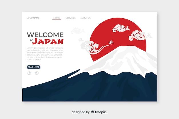 Добро пожаловать в шаблон целевой страницы японии Premium векторы