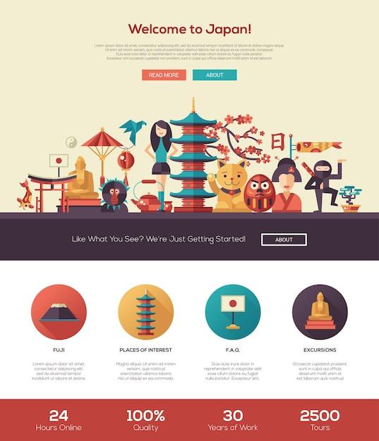 Добро пожаловать в шаблон туристического сайта японии Premium векторы