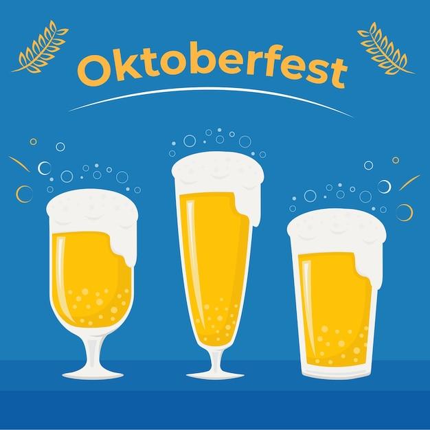 Добро пожаловать на октоберфест и фестиваль пива на синем фоне Premium векторы