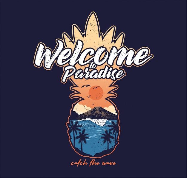 Добро пожаловать в рай красивое море вид на океан закат пальма гора Premium векторы