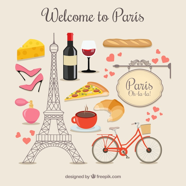 Welcome To Paris Elements Free Vector