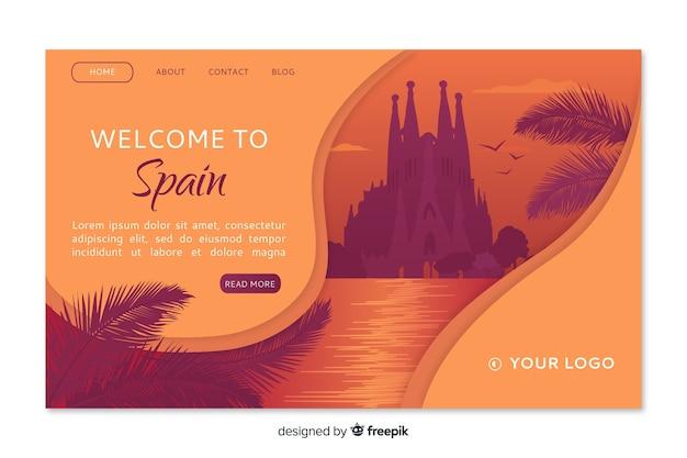 Добро пожаловать в испанию шаблон целевой страницы Бесплатные векторы