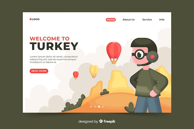 Welcome to turkey landing page Free Vector