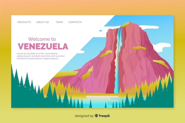 Welcome to venezuela landing page template Free Vector