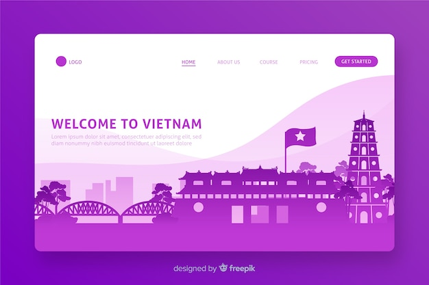 Welcome to vietnam landing page flat design Free Vector