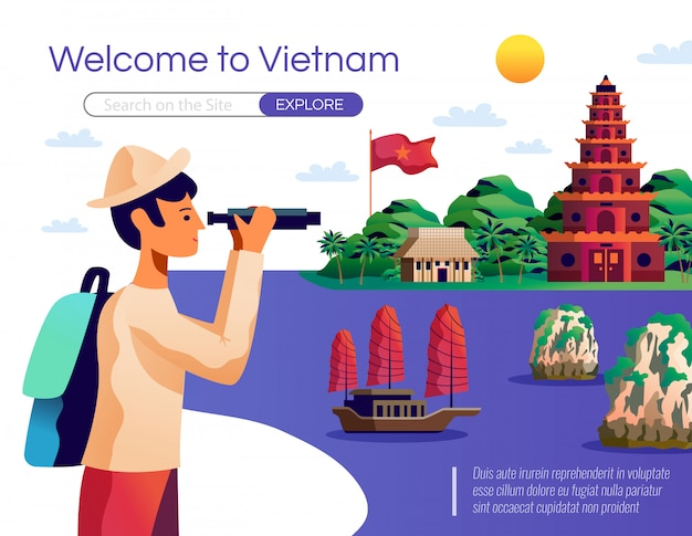 Welcome to vietnam landing page and web template Free Vector