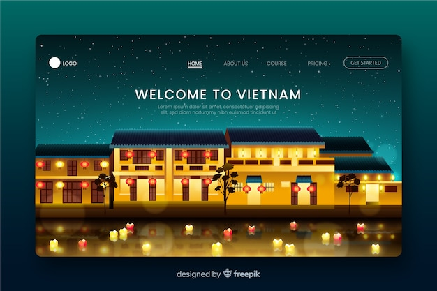Welcome to vietnam landing page Free Vector