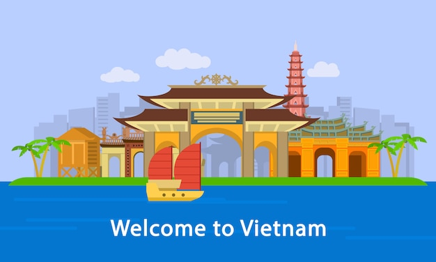 Welcome to vietnam location concept banner, flat style Premium Vector