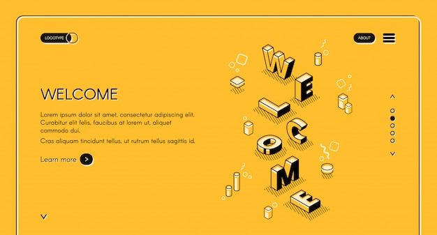 Welcome web main page illustration of word letters in isometric black thin line design Free Vector