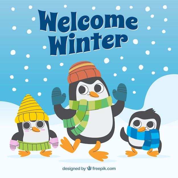 Welcome winter background with penguins
