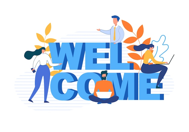 Welcome word and flat cartoon people characters Free Vector