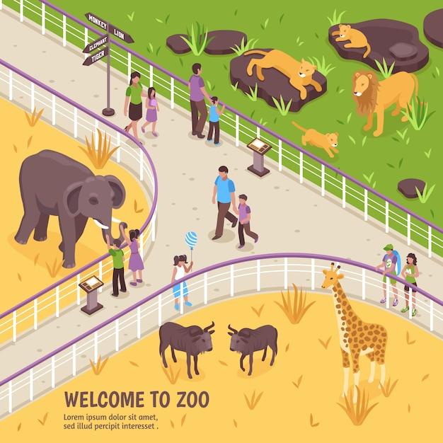 Benvenuti nella composizione dello zoo Vettore gratuito