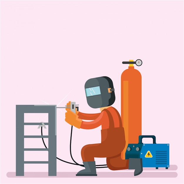 Welder are repairing stairs and he use protect helmet Premium Vector