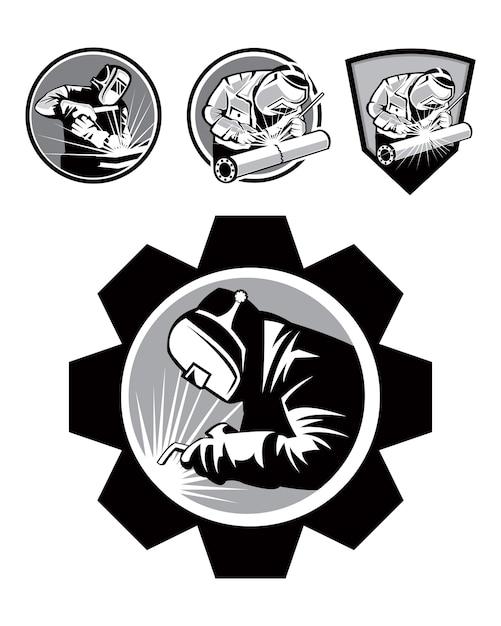 Welder emblem logo template Premium Vector