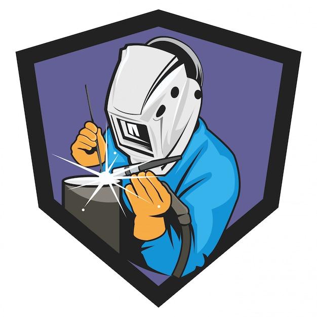 Welder logo illustration on white background Premium Vector