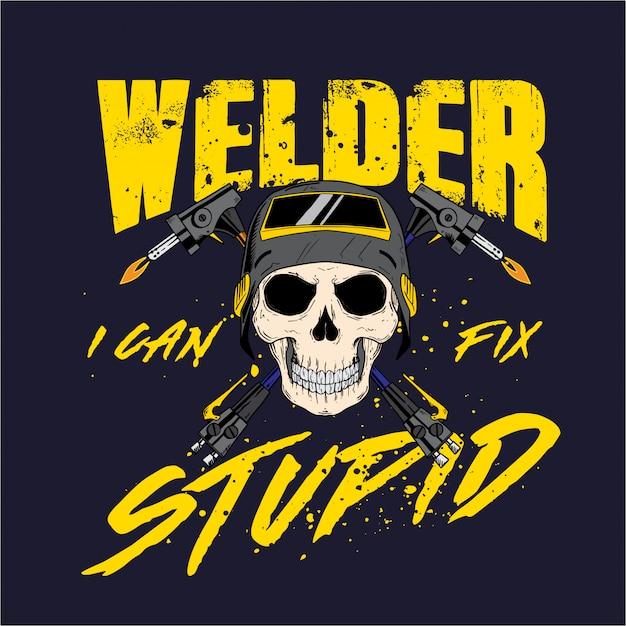 Welder skull profession Premium Vector