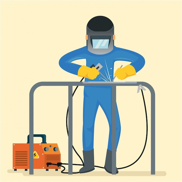 A welder use drill and many tools to repairing table Premium Vector