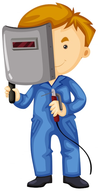 Welder with mask and tool Free Vector