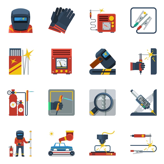 Welding flat color icons Free Vector
