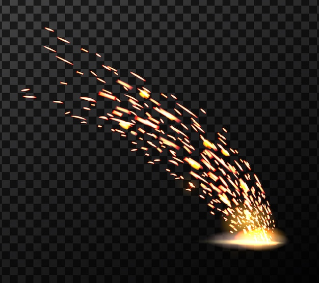 Welding metal fire sparks, during iron cutting. Premium Vector