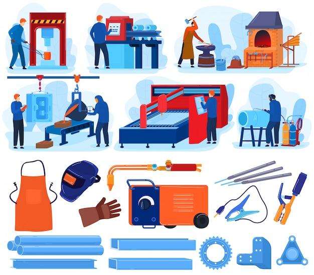 Welding metal work  illustrations, cartoon  set with blacksmith metalworking tool equipment, welder worker people forging, working Premium Vector