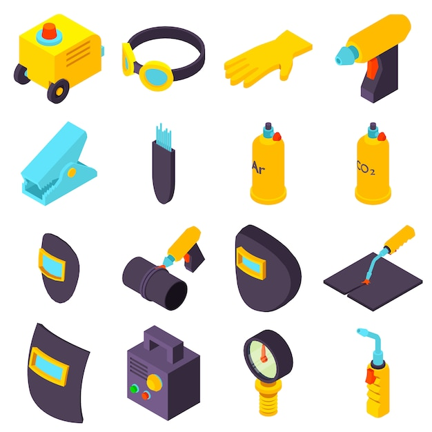 Welding tools icons set. isometric illustration of 16 welding tools icons set vector icons for web Premium Vector