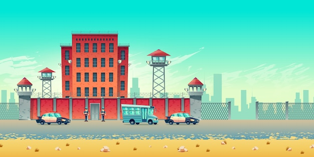 Well guarded city prison building with watchtowers on high brick fence, armed securities, bus for prisoners transportation and police convoy escort cars at jail steel gates cartoon vector illustration Free Vector