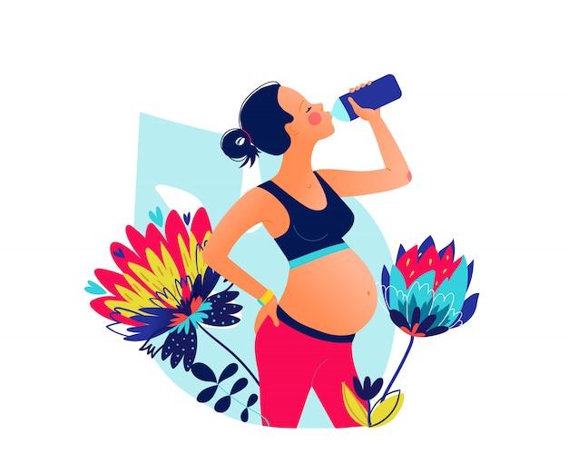 Молодая беременная красивая питьевая вода женщины после тренировки. оставайтесь увлажненными. wellness занятия в одиночном спорте. ручной обращается стиль иллюстрации Premium векторы