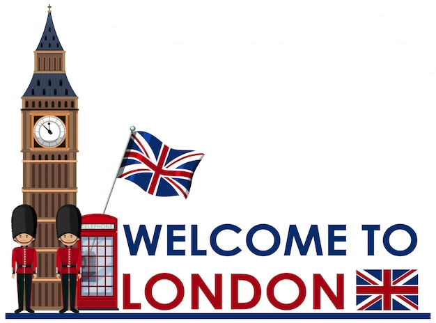 Welome to london landmarks Premium Vector