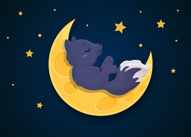 Werewolf cartoon that transforms into a fox on the full moon night. Premium Vector