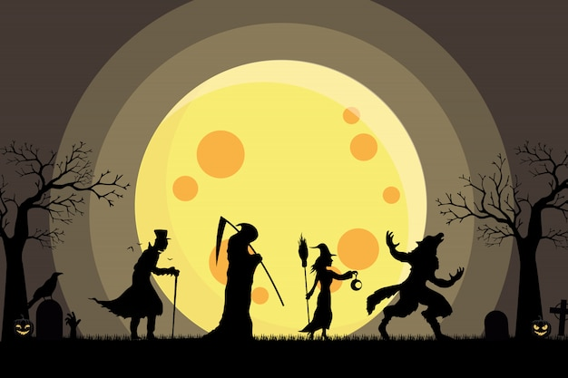 Werewolf, witch, angel of death, dracula walking silhouette go trick or treat Premium Vector