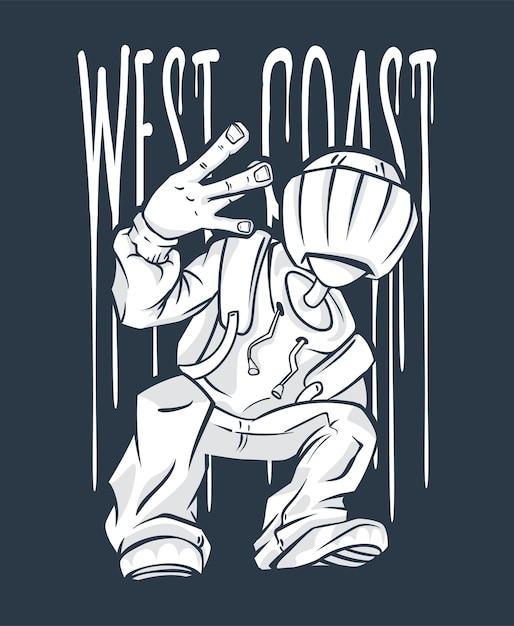 Жест рукой парня с западного побережья в стиле хип-хоп Premium векторы