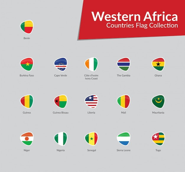 Western african flags icon collection Vector | Premium Download