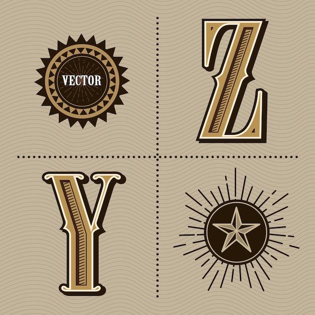 Western alphabet letters vintage design vector Premium Vector