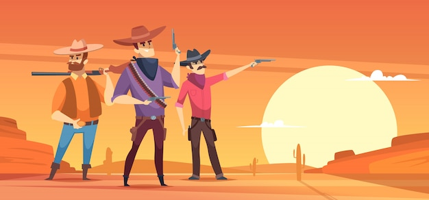 Western background. dessert silhouettes and cowboys on horses wildlife illustrations Premium Vector