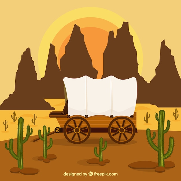 Western background with carriage and rocky mountains Free Vector