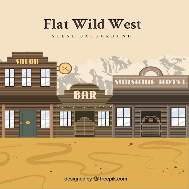 Western background with hotel and saloons in flat design Free Vector