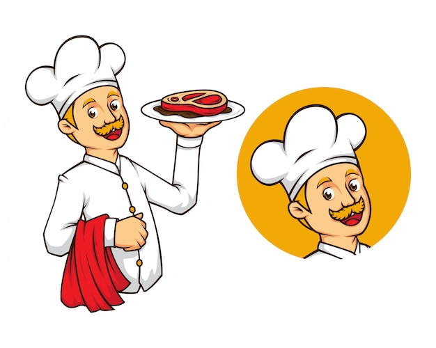 Западный шеф-повар со стейком-талисманом Premium векторы