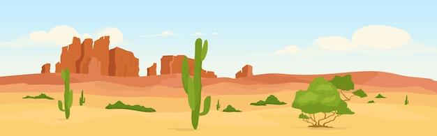 日中の西部の乾燥した砂漠フラットカラー。荒れ地の旅行先。荒野の朝の風景。背景にサボテンと峡谷のある野生の西2d漫画の風景 Premiumベクター
