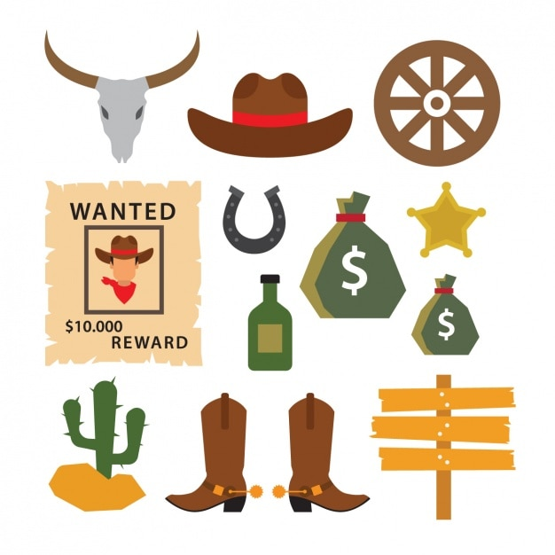 Western elements collection Free Vector