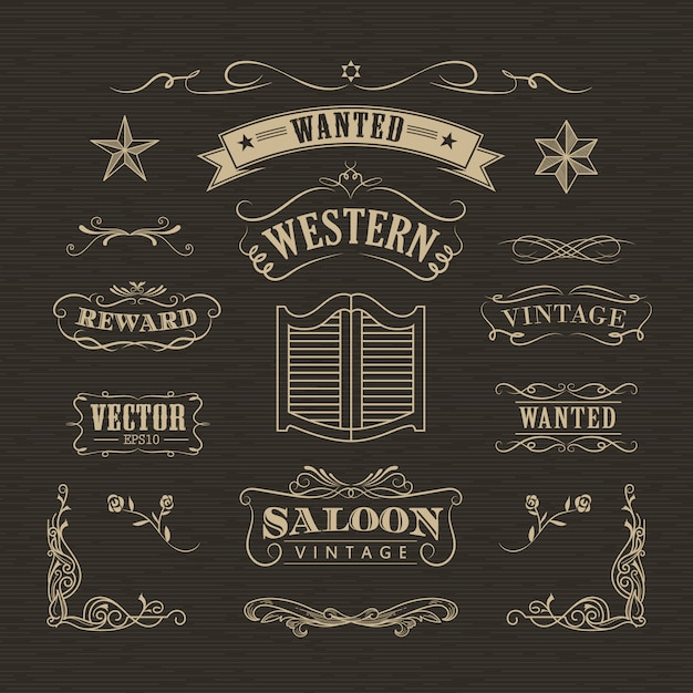 Western hand drawn banners vintage badge vector Premium Vector