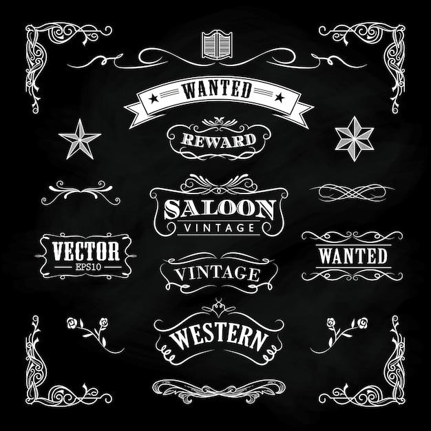 Western hand drawn blackboard banners vintage badge vector Premium Vector