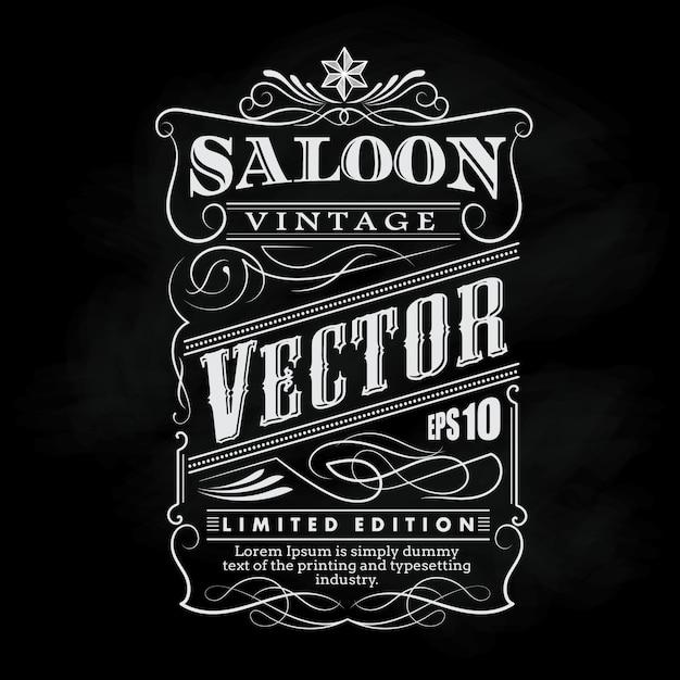 Western hand drawn frame label blackboard typography border Premium Vector