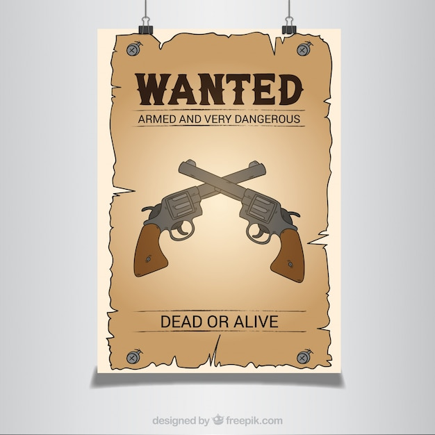 Western poster with pistols Free Vector