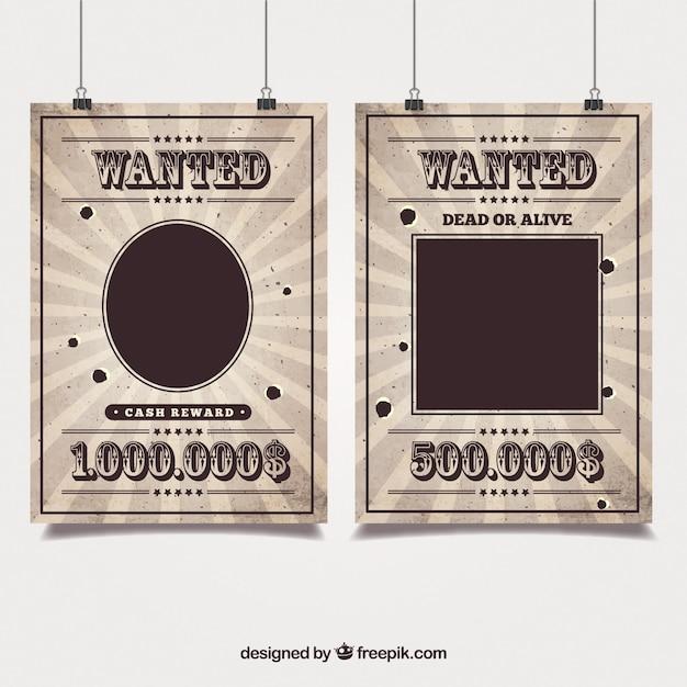 Западные плакаты разыскиваемых бандит Premium векторы